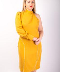 Robe tencel jaune 100% écologique made in France droite asymétrique à manches gigot