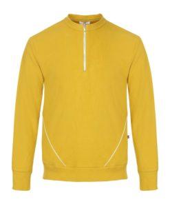 sweat jaune en velours 100% biologique avec 2 grandes poches sheilla dieudonne