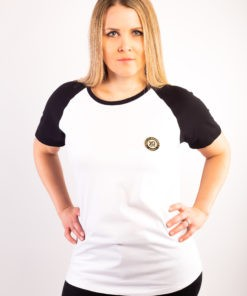 T-shirt Bio unisexe raglan bicolore Femme, manches courtes , écusson sheilla dieudonne de couleur or brodé à Paris