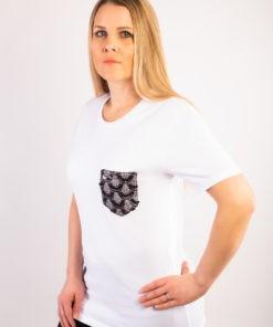 T-shirt bio blanc à poche en dentelle en coton labellisé GOTS