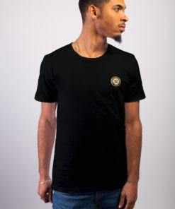 T-shirt biologique mixte noir col rond, manches courtes